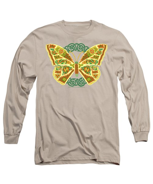 Long Sleeve T-Shirt featuring the mixed media Celtic Butterfly by Kristen Fox
