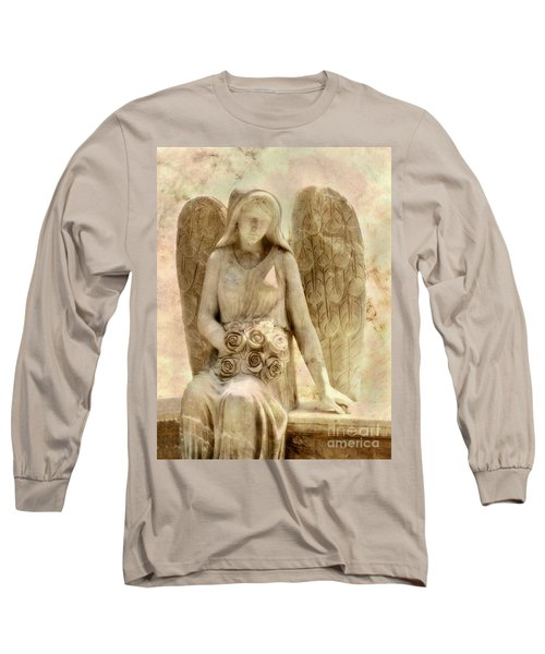 Long Sleeve T-Shirt featuring the digital art Cemetery Angel Statue by Randy Steele