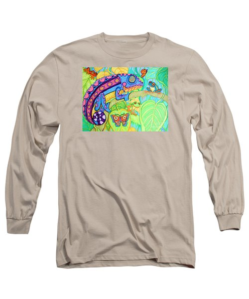 Chamelion And Rainforest Frogs Long Sleeve T-Shirt by Nick Gustafson