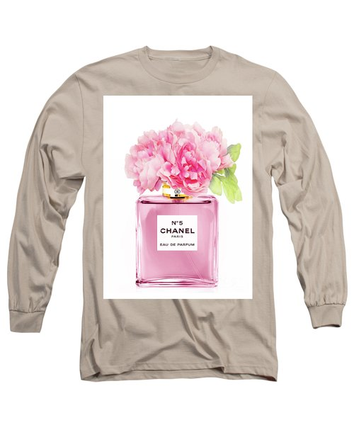 Chanel N5 Pink With Flowers Long Sleeve T-Shirt
