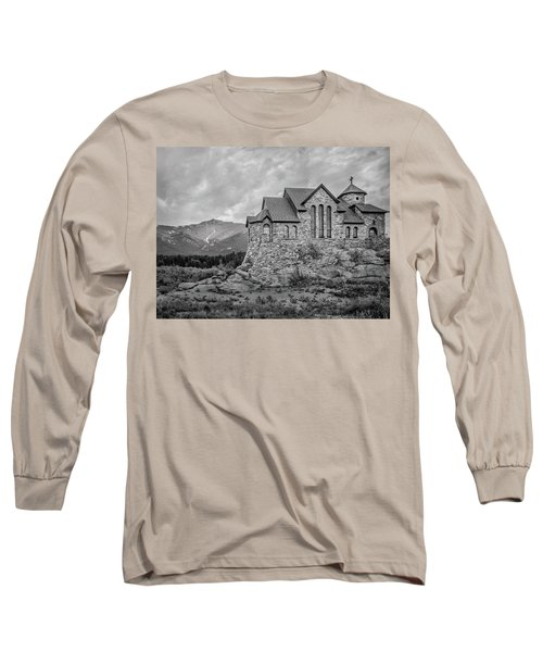 Chapel On The Rock - Black And White Long Sleeve T-Shirt