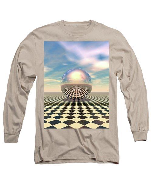 Long Sleeve T-Shirt featuring the digital art Checker Ball by Phil Perkins
