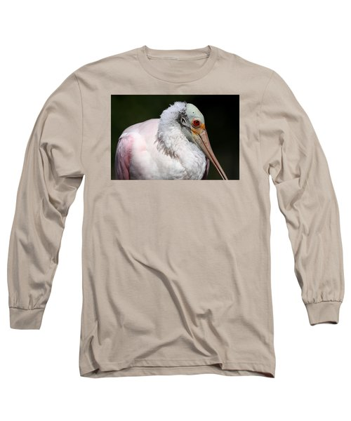 Cheese Puff Face - Roseate Spoonbill Long Sleeve T-Shirt