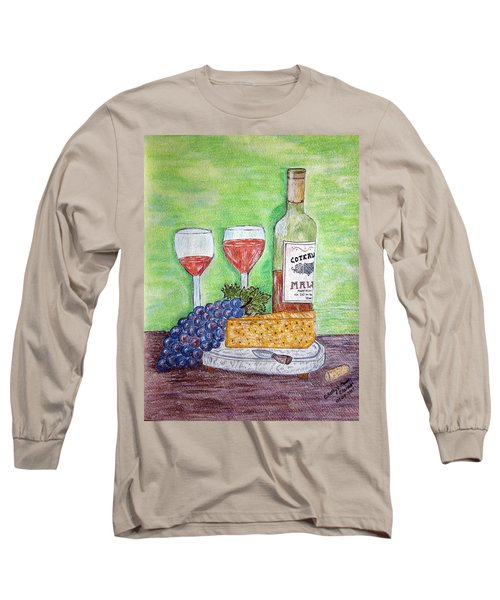 Cheese Wine And Grapes Long Sleeve T-Shirt by Kathy Marrs Chandler