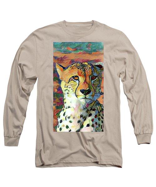 Cheetah Face Long Sleeve T-Shirt