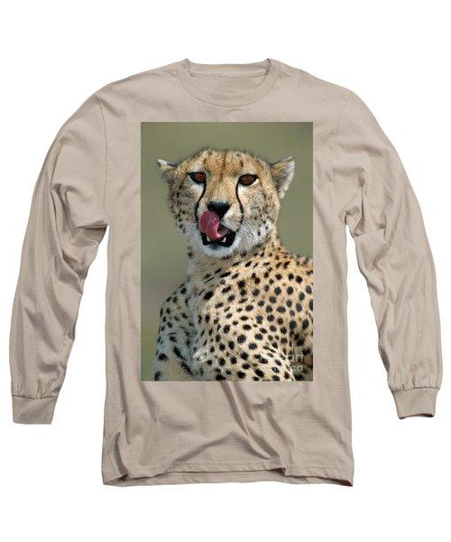 Cheetah Licking  Long Sleeve T-Shirt