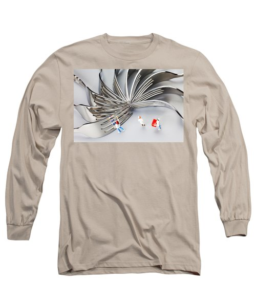Long Sleeve T-Shirt featuring the photograph Chef And Forks Little People On Food  by Paul Ge