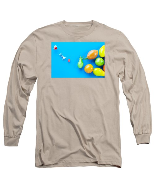 Long Sleeve T-Shirt featuring the painting Chef Tumbled In Front Of Colorful Tomatoes II Little People On Food by Paul Ge