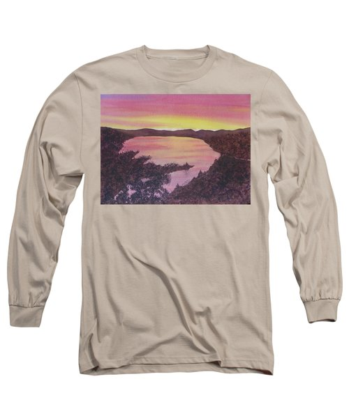 Long Sleeve T-Shirt featuring the painting Cherokee Lake Sunset Number Seven by Joel Deutsch