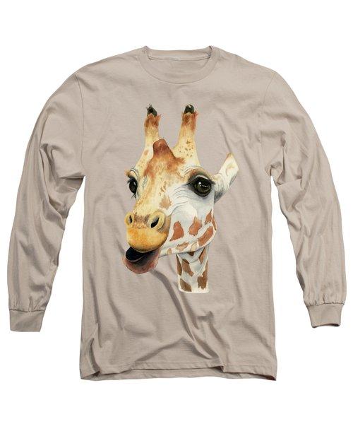 Chew - Giraffe Watercolor Painting Long Sleeve T-Shirt