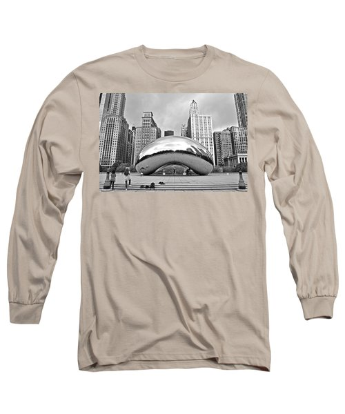 Chicago Bean In Black And White Long Sleeve T-Shirt