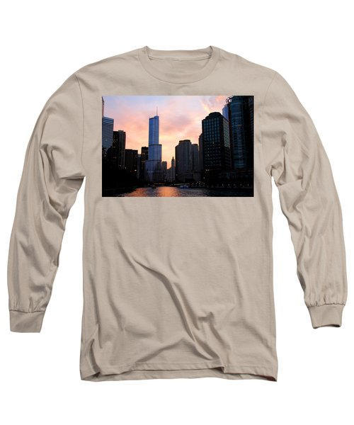 Chicago Skyline At Dusk Long Sleeve T-Shirt