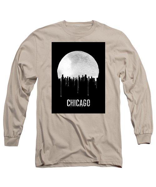 Chicago Skyline Black Long Sleeve T-Shirt by Naxart Studio