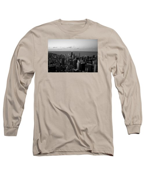 Long Sleeve T-Shirt featuring the photograph Chicago Skyline Bw by Richard Zentner