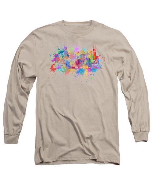 Chicago Skyline Paint Splatter Illustration Long Sleeve T-Shirt