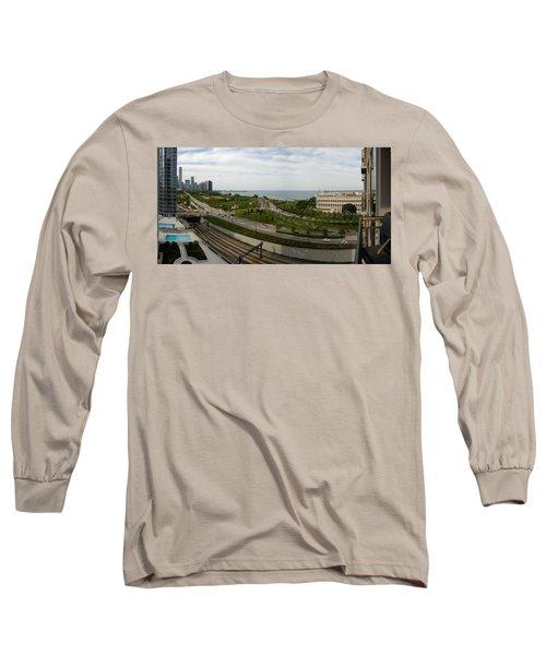 Chicago Skyline Showing Monroe Harbor Long Sleeve T-Shirt