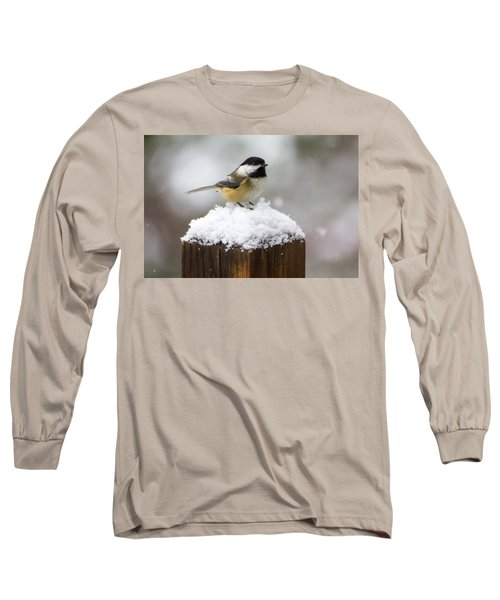 Chickadee In The Snow Long Sleeve T-Shirt