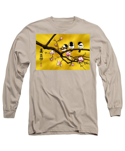 Chickadee On Blooming Magnolia Branch Long Sleeve T-Shirt
