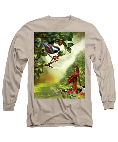 Chickadee Visiting The Water Pump Long Sleeve T-Shirt by Regina Femrite