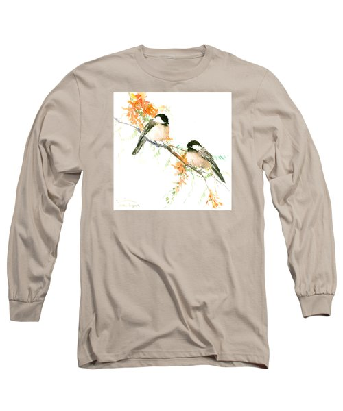 Chickadees And Orange Flowers Long Sleeve T-Shirt by Suren Nersisyan