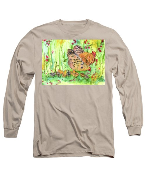Long Sleeve T-Shirt featuring the painting Chicken Family by Cathie Richardson