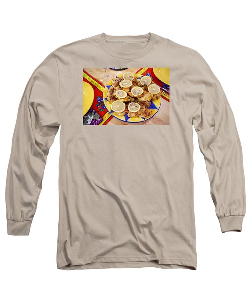Chicken With Lemon Long Sleeve T-Shirt by Jana Russon