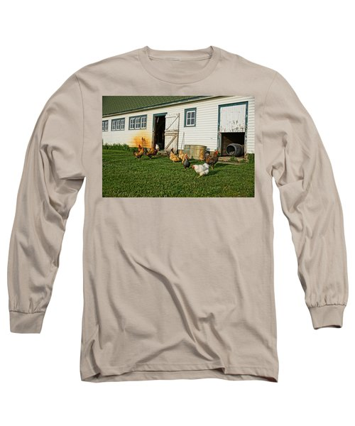 Chickens By The Barn Long Sleeve T-Shirt by Steven Clipperton