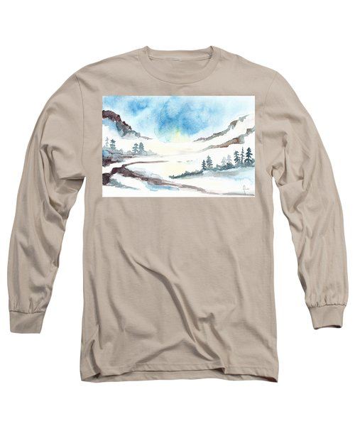 Children's Book Illustration Of Mountains Long Sleeve T-Shirt