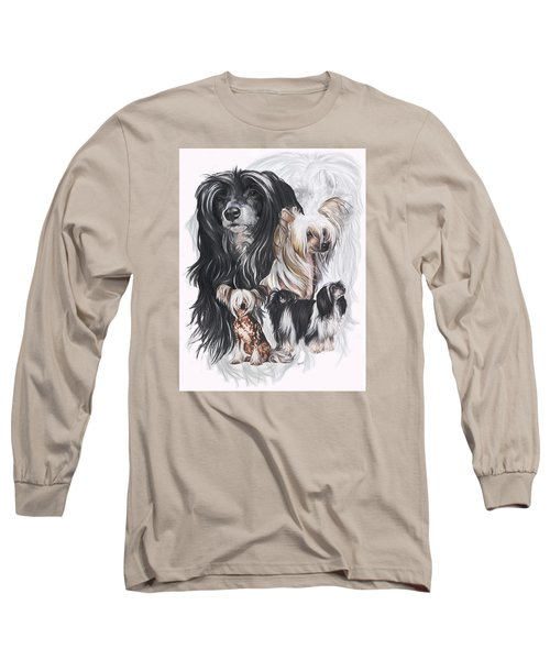 Chinese Crested And Powderpuff W/ghost Long Sleeve T-Shirt by Barbara Keith