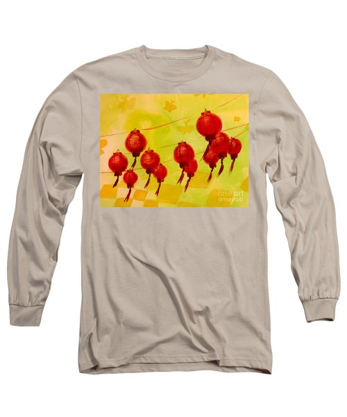 Long Sleeve T-Shirt featuring the painting Chinese Lanterns by Maria Langgle