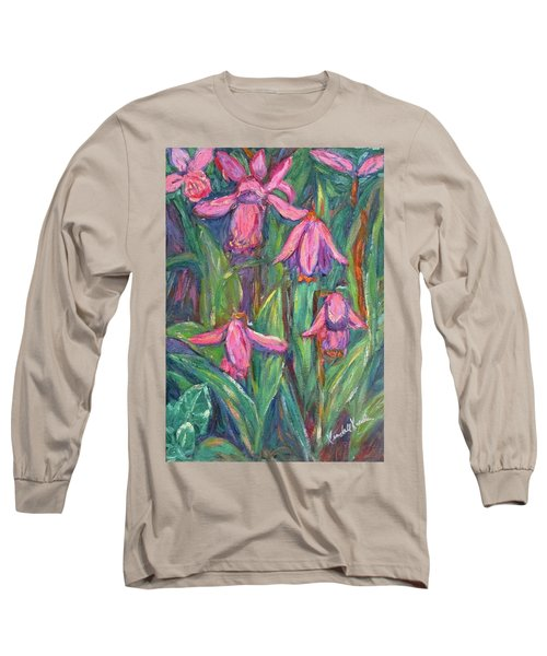 Long Sleeve T-Shirt featuring the painting Chinese Orchids by Kendall Kessler
