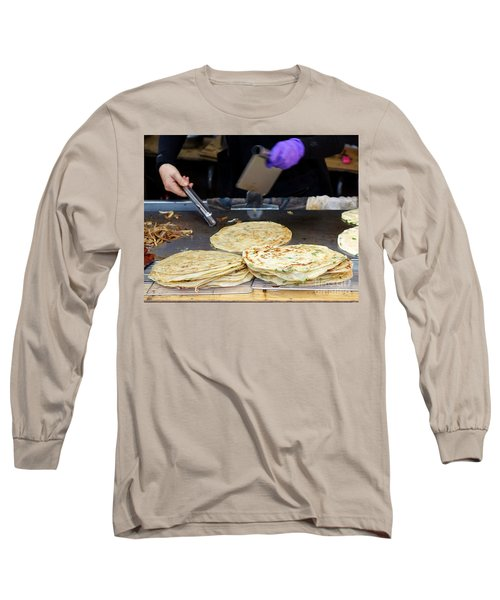 Long Sleeve T-Shirt featuring the photograph Chinese Street Vendor Cooks Onion Pancakes by Yali Shi