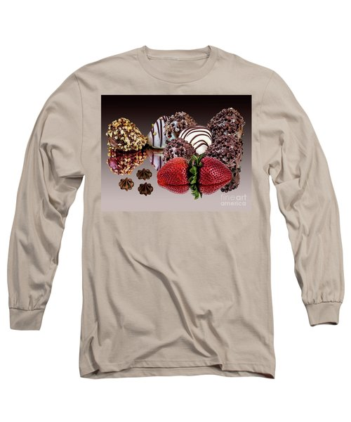 Chocolate And Strawberries Long Sleeve T-Shirt by Shirley Mangini