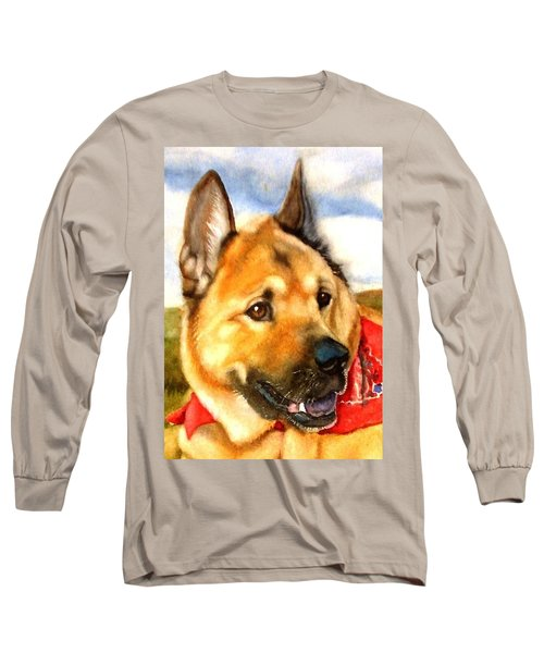 Long Sleeve T-Shirt featuring the painting Chow Shepherd Mix by Marilyn Jacobson