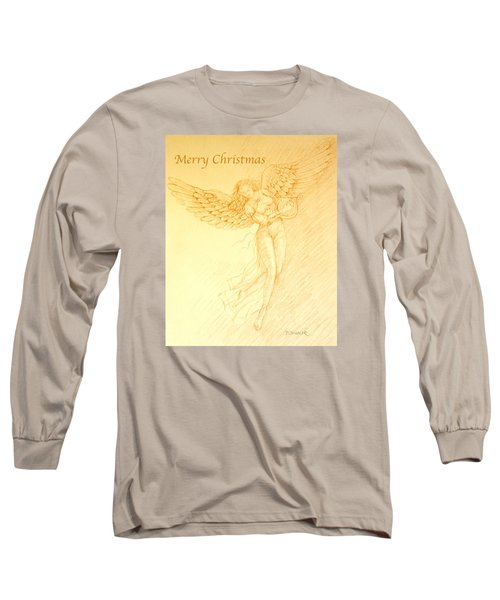 Christmas Angel With Harp Long Sleeve T-Shirt by Deborah Dendler