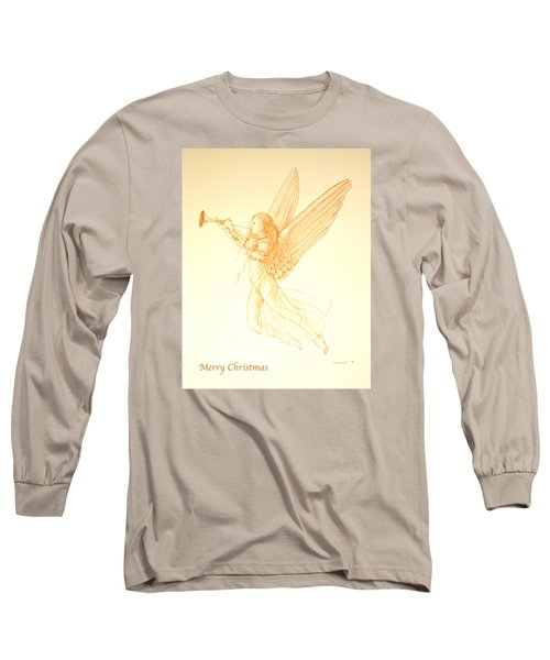 Christmas Angel With Trumpet Long Sleeve T-Shirt by Deborah Dendler
