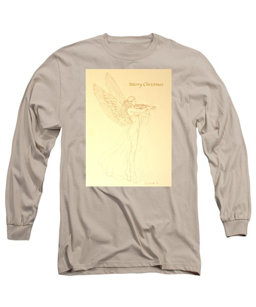 Christmas Angel With Violin Long Sleeve T-Shirt by Deborah Dendler