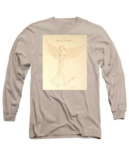 Christmas Angerl With Flute Long Sleeve T-Shirt by Deborah Dendler