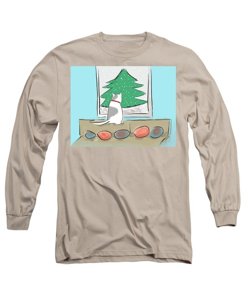 Christmas Cat Long Sleeve T-Shirt by Haleh Mahbod