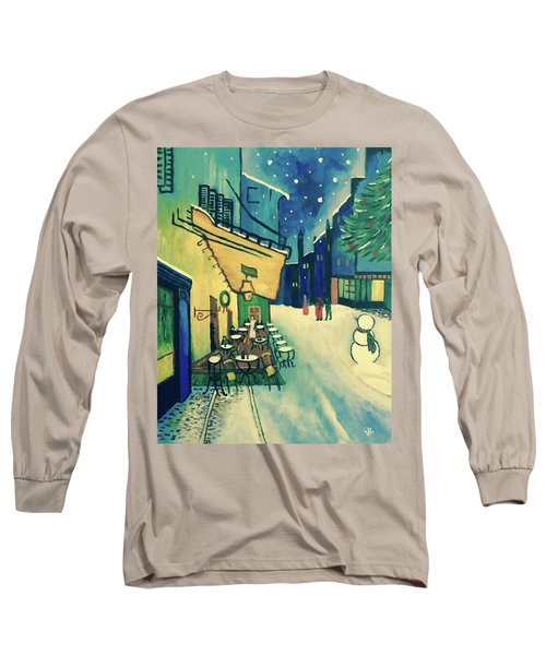 Christmas Homage To Vangogh Long Sleeve T-Shirt by Victoria Lakes