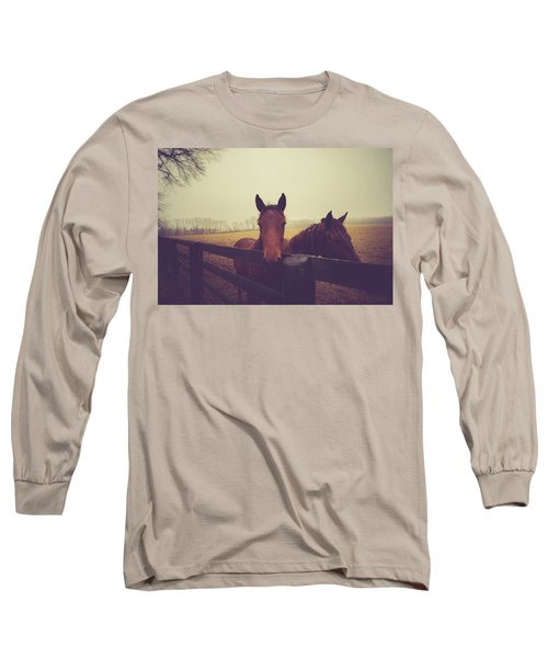 Long Sleeve T-Shirt featuring the photograph Christmas Horses by Shane Holsclaw