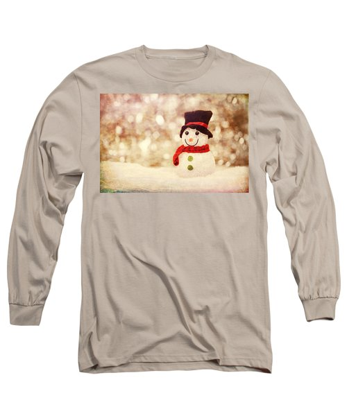 Long Sleeve T-Shirt featuring the photograph Christmas Snowman by Bellesouth Studio