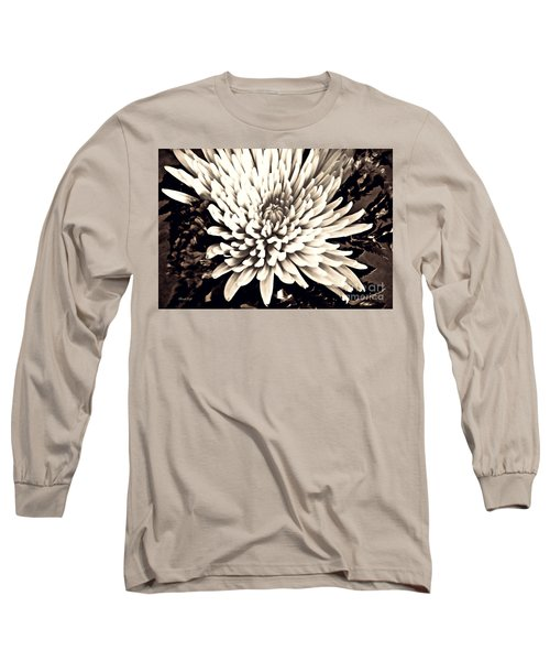 Long Sleeve T-Shirt featuring the photograph Chrysanthemum In Sepia 2  by Sarah Loft
