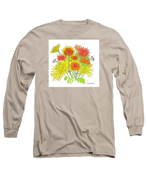 Chrysanthemums Long Sleeve T-Shirt by Deborah Dendler