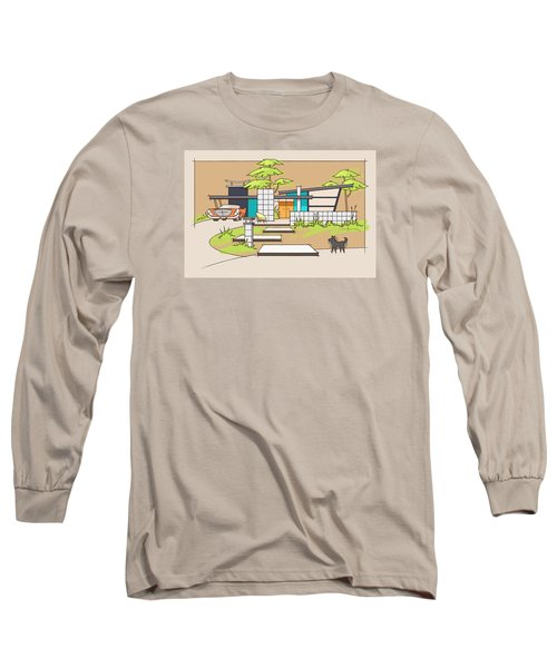 Chrysler With Black Dog, A Mid-century Home Long Sleeve T-Shirt
