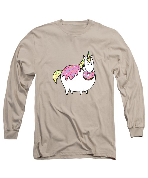 Chubby Unicorn Eating Sprinkle Doughnut Long Sleeve T-Shirt by Crista Forest