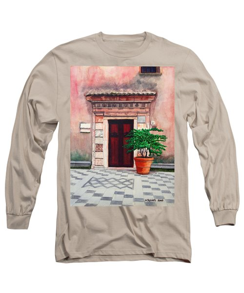 Church Side Door - Taormina Sicily Long Sleeve T-Shirt by Mike Robles
