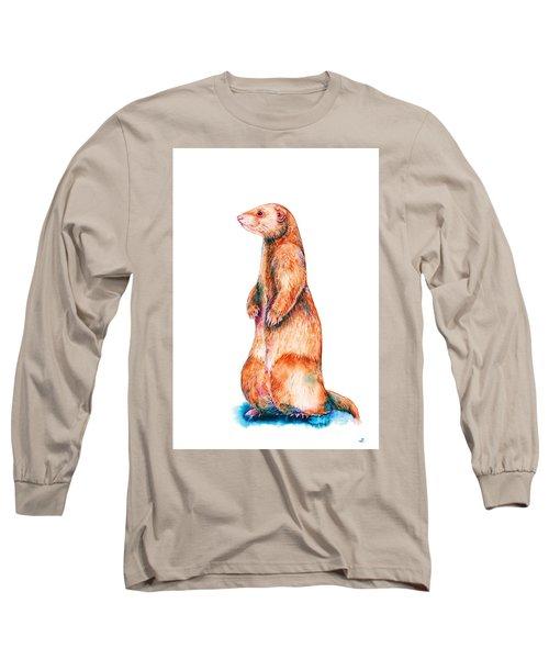 Long Sleeve T-Shirt featuring the painting Cinnamon Ferret by Zaira Dzhaubaeva