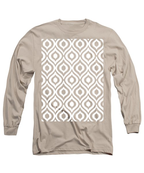 Circle And Oval Ikat In White N05-p0100 Long Sleeve T-Shirt