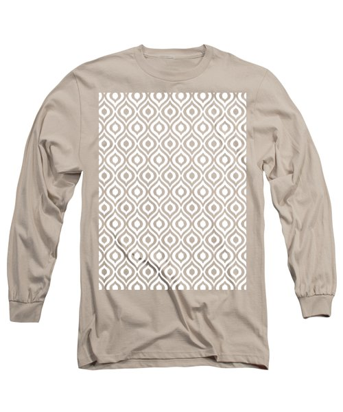 Circle And Oval Ikat In White T09-p0100 Long Sleeve T-Shirt